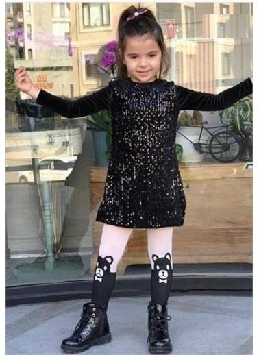 Riccotarz Kız Çocuk Pul Payet Işlemeli Kadife Elbise Siyah